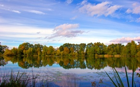Picture autumn, the sky, clouds, trees, lake, river