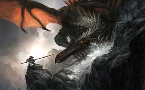 Picture rocks, dragon, monster, art, battle