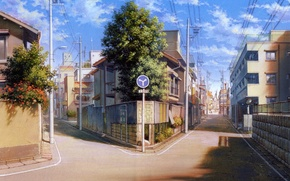 Picture summer, trees, the city, sign, street, posts, wire, the fence, home, Japan, art, fork, the …
