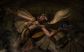 Picture girl, mechanism, wings, art, steampunk, Steampunk, headdress