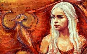 Wallpaper dragon, figure, art, blonde, Game Of Thrones, Game of Thrones, Emilia Clarke, Daenerys Targaryen, Emilia ...