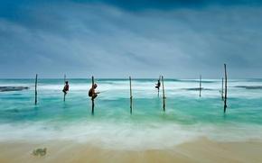 Picture sea, Sri Lanka, Koggala, fishermen on stilts