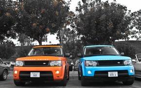 Picture sport, jeep, sport, land rover, range rover, blue, orange, land Rover
