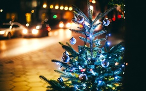 Wallpaper New Year, the sidewalk, winter, road, tree, toys, machine, the city, lights, garland, Christmas, New ...