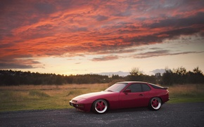 Picture sunset, red, Porsche, red, Porsche, Turbo, 924