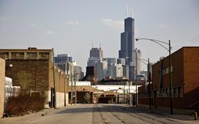Picture road, building, track, skyscrapers, America, Chicago, Chicago, USA, skyscrapers