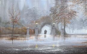 Wallpaper autumn, Park, rain, picture, lights, arch, two, Jeff Rowland
