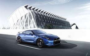 Picture Nissan, GT-R, Car, Blue, Front, Sport, Road