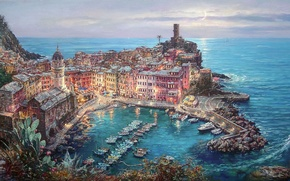 Picture the city, home, boats, pier, Italy, Cathedral, moonlight, painting, Vernazza, Cao Yong, The Mediterranean sea, …