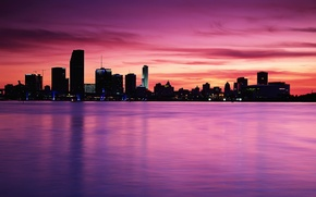 Picture sea, the sky, water, the city, river, Shine, building, pink, the room