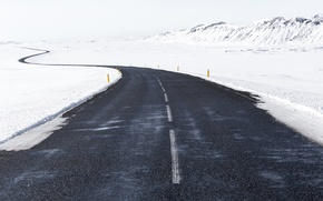 Picture road, winter, snow, hills, way, Iceland, cold