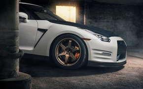 Picture Nissan, GT-R, Car, Front, White, R35, Sport, EvoG