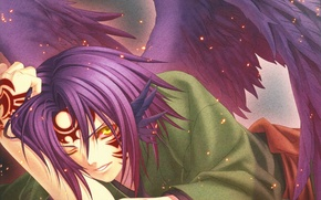 Picture wings, the demon, sparks, art, print, hiiro no kakera, yone kazuki, youkai, crimson shards, mahiro …