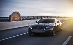 Picture the sun, black, Aston Martin, speed, Vantage, Aston Martin, black, Blik
