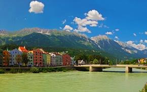 Picture the sky, mountains, bridge, the city, river, photo, home, Austria, Innsbruck
