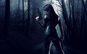 Picture road, girl, weapons
