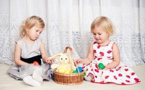 Picture children, basket, girls, toy, Easter, dresses, Easter, children