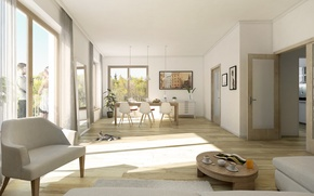 Picture interior, dining room, design. house