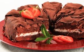 Picture chocolate, strawberry, pie, cake, dessert, cakes, sweet