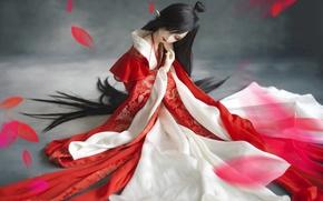 Picture girl, doll, petals, kimono, BJD