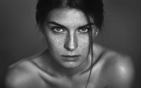 Picture look, portrait, freckles, curl, bokeh