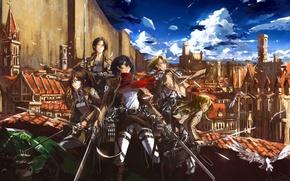 Picture flight, the city, weapons, girls, soldiers, swords, art, stu dts, shingeki no kyojin, mikasa ackerman, …