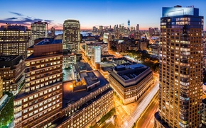 Wallpaper road, light, the city, lights, Windows, building, home, New York, skyscrapers, the evening, Brooklyn, roof, ...