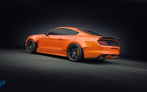 Picture Mustang, Ford, Orange, RTR, Tuning, Rear, 2015