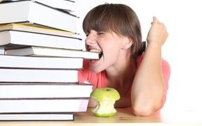 Picture girl, study, books, Apple, schoolgirl, student, tired