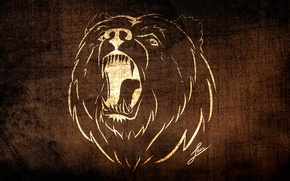 Picture background, animal, Wallpaper, figure, spirit, texture, styling, bear, bear, fangs, grin, evil, brown, collection, brown, ...