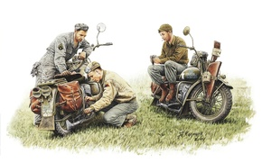 Picture team, repair, art, WW2, htonic, soldiers, motorcycle, break, USA, 1942., model, mechanics, military, A. Karashchuk., ...