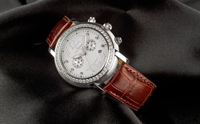 Picture watch, Jack Pierre, leather and diamonds