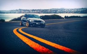Picture road, sea, asphalt, the city, BMW, drives, road markings, marking, away, 1 series, BLK Wheels