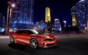 Picture night, red, the city, red, Chevrolet, camaro, chevrolet, Camaro