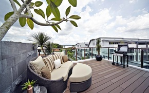 Picture the city, house, terrace, grill