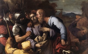 Picture picture, religion, mythology, Luca Giordano, The Kiss Of Judas