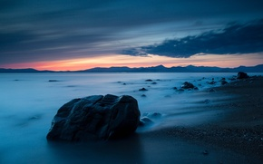 Picture sea, beach, sunset, stones, the evening