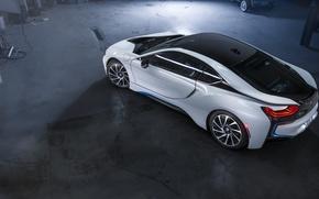 Picture BMW, Car, Hybrid, White, Garage, Rear