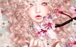 Picture girl, flowers, face, butterfly, Sakura, blonde, curls