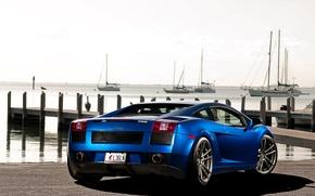Picture the sky, blue, yachts, Lamborghini, pier, Gallardo, Lamborghini, blue, Lamborghini, the rear part, Gallardo