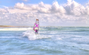 Picture wave, beach, the sky, clouds, the wind, Windsurfing, extreme sports, the troubled sea, windsurfer
