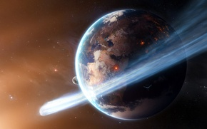 Picture space, stars, fire, earth, planet, comet, satellites
