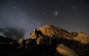 Wallpaper cloud, mountains, cacti, Magellan, the sky, stars, Andes