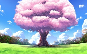 Picture nature, tree, landscapes, anime, art, upscale