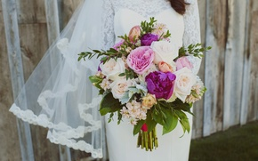 Picture flowers, roses, bouquet, dress, the bride, peonies, wedding