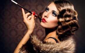 Picture girl, face, model, hair, makeup, lipstick, cigarette, hair style