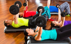 Picture group, fitness, gym, weights, dumbbells