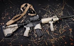 Picture gun, logo, weapon, leaves, rifle, konoha, AR-15, ammunition, AR 15, bandolier, semi-automatic, tactical flashlight, Sylver …