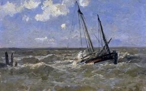 Picture ship, picture, seascape, Carlos de Haes, The sea in Normandy