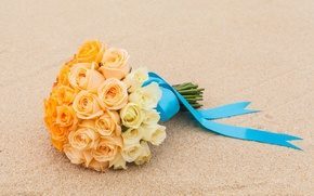 Picture sand, roses, wedding bouquet, satin ribbon